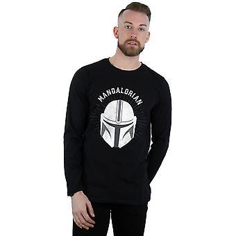 Star Wars Miehet&s Mandalorian Kypärä Pitkähihainen T-paita