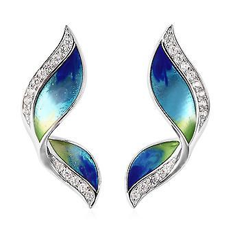 GP Butterfly Wing Stud Blue Sapphire Oorbellen Sterling Zilver Wit Zircon