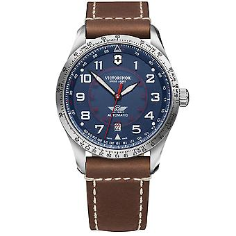 Victorinox Swiss Army Airboss Mechanical Blue Dial Brown Leather Strap Men's Watch 241887