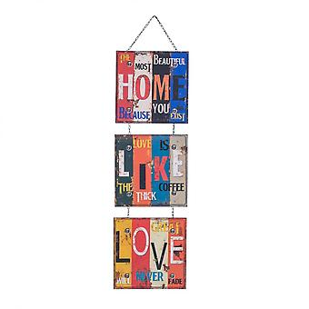 Rebecca Furniture Plaque Wall Metal 3 Colorful Panels 115x30