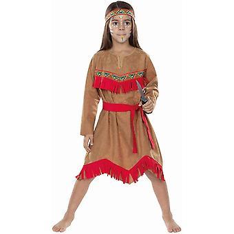 Indian Children's Warrior Costume Squaw Prairie girl Carnival