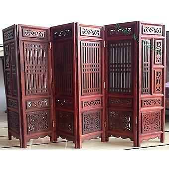 14.75 Inch Exquisite Hand Carved Chinese Boxwood & Sculpture Folding Screen For Home Decoration