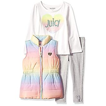 Juicy Couture Girls' Toddler 3 Pieces Puff Vest Set, Multi Color/Gray, 3T