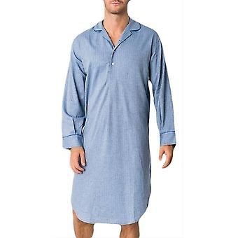 British Boxers Garrison Herringbone Nightshirt - Blue