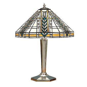 2 Ljus medium bordslampa polerad aluminium, Tiffany Glas, E27