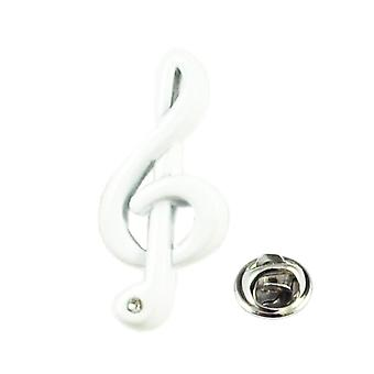 Ties Planet White Treble Clef With Crystal Lapel Pin Badge