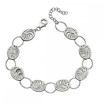 Elements Silver Oval Wave Cut Out Zirconia Bracelet B5018C