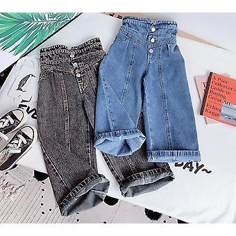 Denim Pants Wide Leg Trousers For Children - Streetwear High Waist Bud Buttons