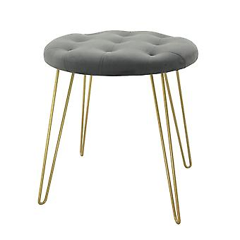 Country Club Stool with Gold Legs, Grey