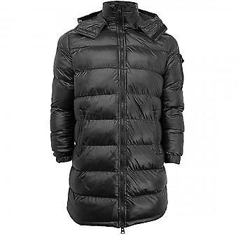 Brave Soul Jaredlong Longline Puffer Coat Hi Shine Zwart