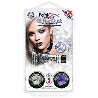 PaintGlow Halloween Fancy Dress Acessories - Holographic Glitter Dust & Fix Gel