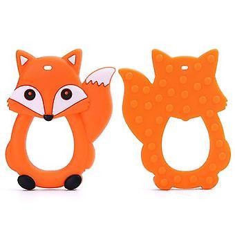 Tecknad fox babytändare, silikon gnagare ring, hängande tänder
