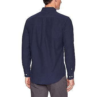 Essentials Men's Regular-Fit Long-Sleeve Solid Oxford Shirt, marinha, Med...
