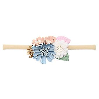 Peral  Baby Headbands Flower, Handmade Bundle Nylon Elastic  Hair Band