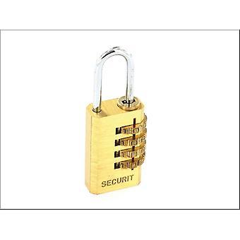 Securit 4 Valitse Combi Riippulukko Messinki 20mm S1192