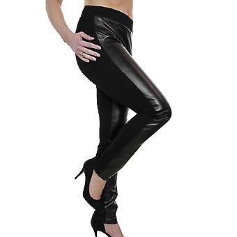 iscoolfashion kvinners skinnende halv faux skinn leggings elastisk midje bukser svart