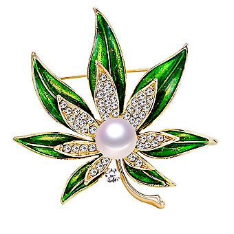 Leaf-brooch Natural Freshwater Pearl Brooch Simple Enamel Pins