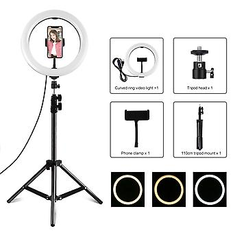 PULUZ 10.2 inch 26cm Ring Light + 1.1m Tripod Mount USB 3 Modes Dimmable Dual Color Temperature LED Curved Diffuse Light Vlogging Selfie Photography V