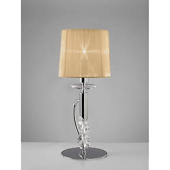 Tiffany Tafellamp 1 + 1 Lamp E14 + G9, Gepolijst Chroom Met Brons Tint & Transparant Kristal