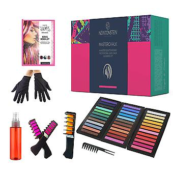 Masterchalk - 44pcs Professional Temporary Hair Chalk Diy Kit 36 Pastel And Bright Colours Non-toxic Soft Hair Dye (washable) 2 No-mess Chalk Applic