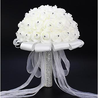 Artificial Wedding Bouquets, Hand Made Rose Flower, Rhinestone