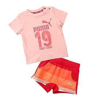 Puma Style Infant Minicats T-Shirt Shorts Pink Cotton Set 836778 36
