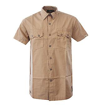 FILA Elmwood Short Sleeve Mens Popper Cuban Sand Collared Shirt U93393 232 R8L