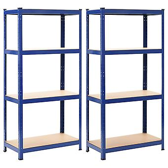 Storage racks 2 pcs. Blue 80 x 40 x 160 cm steel and MDF