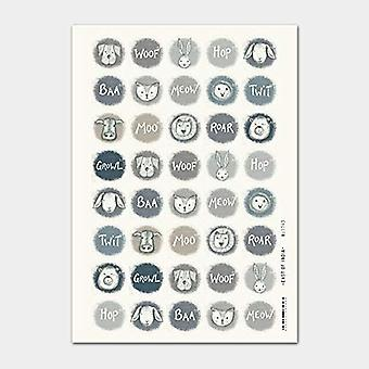 East of India Woof Animal Head Stickers x 40 - Crafts - Cat Dog Sheep Baa Meow