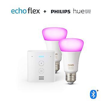 Echo flex + philips teinte blanche & couleur ambiance smart bulb twin pack led (e27) | bluetooth et zigbee