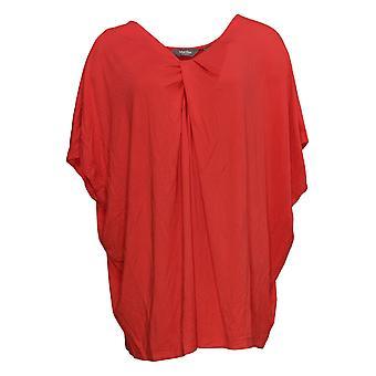 Martha Stewart Mujeres's Plus Top Knit Twist Front Dolman Manga Rojo A307718