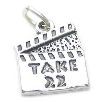 Take 22 Clapperboard Sterling Silver Charm .925 X 1 Movie Film Charms - 3730