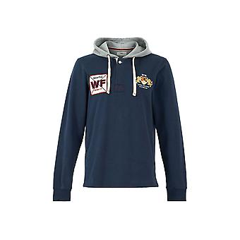 Sonny Organic Cotton Hooded Rugby Shirt  Navy