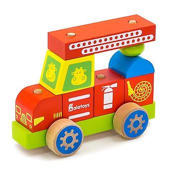 "Alatoys Wooden  Constructor-Push&Pull ""Fire truck"""