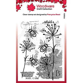 Woodware Francoise Read Three Bees 4 in x 6 in Clear Stamp