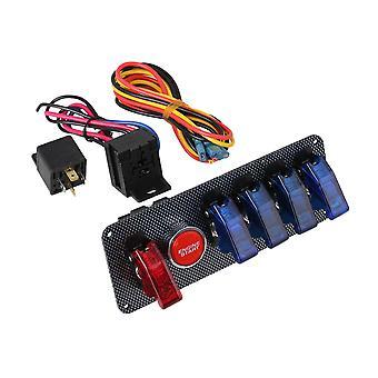 Interruptor de ignição do carro de corrida de 12V + 4 painel de botão de alternação vermelho e azul e 1 vermelho