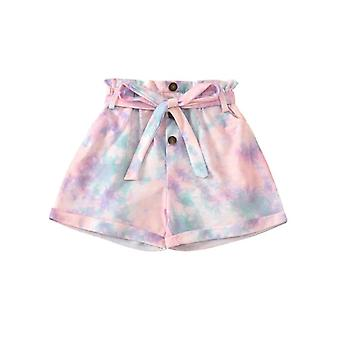 Summer Infant Baby Pantaloni scurți Elastic High Talie Pantaloni cu imprimeu colorat Bow Pantaloni scurți