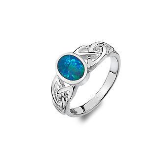 טבעת כסף סטרלינג - קשרים השילוש הקלטי + אופל סינתטי כחול
