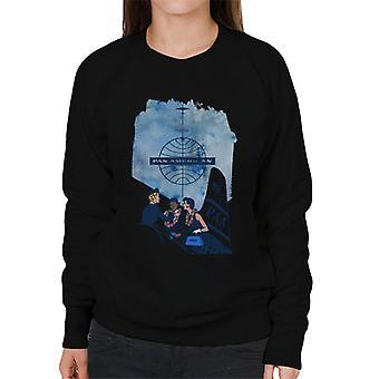 Pan Am Hostess Placing Rainbow Lei On Customer Women's Sweatshirt