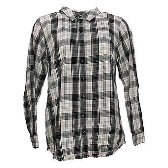 Joan Rivers Women's Top Reg Plaid Shirt with Fringe Hem White  A347332