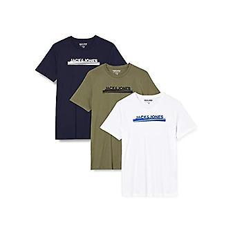 JACK & JONES JORHARRY T-Shirt SS Crew Hals 3-Pack T-Shirt, Weiß, XL Herren