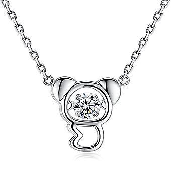 Koala necklace 925 sterling Silver Dancing Cubic zirconia jewelry Girls - Gemshadow