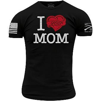 Grunt Стиль I Сердце Ваша мама футболка - Черный