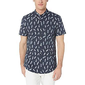 Goodthreads Men's Slim-Fit Short-Sleeve Printed Poplin Shirt, Navy Ground Anchor, Medium