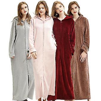 Xl red women's long-sleeved winter warm nightdress home wear and casual bathrobe pajamas fa0913