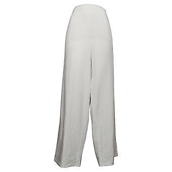 Denim &co. kvinners pluss bukser beach pull-on bredbenet hvit A376429