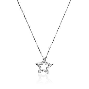 Colgante estrella de oro blanco y diamante