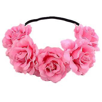 Rose Flower Crown Wedding Festival Hoofdband Haar Guirlande Bruiloft Hoofddeksel (Roze)