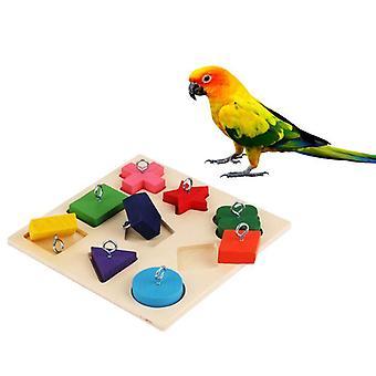 الطيور الببغاء التفاعلي التدريب كتلة خشبية ملونة