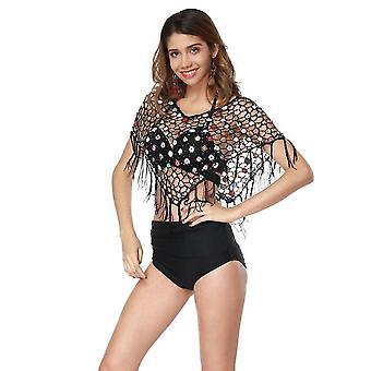 Stickerei Frauen Bluse Beachwear Quaste aushöhlen Bikini Vertuschen